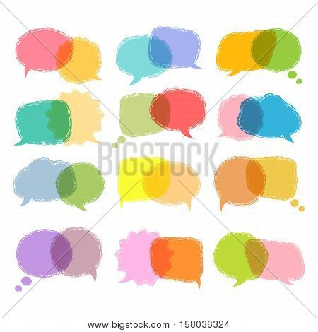 Communication sign.Talking bubble colorful set isolated on a white background.Speech bubbles vector hand draw design.Color speech bubble.Speech bubble template for a message, think so etc. Over white