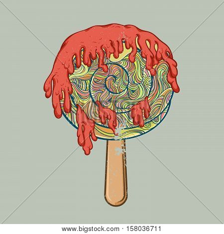 Icecream filled with sour cream melted sloppy flow. Vector illustration perfect funny Doodle stylized.