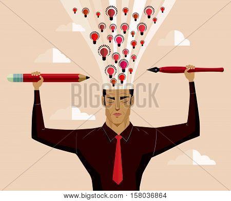 Businessman holding a pencil and a pen light eruption brain.