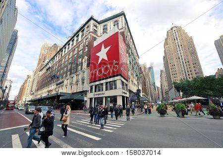 NEW YORK CITY - OCT 3, 2011: Macy's Department Store on 34th street near Herald Square, Manhattan, New York City, USA.