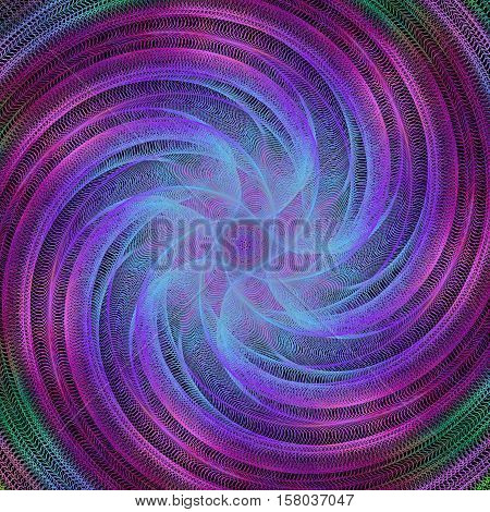 Abstract computer generated spiral fractal background - vector art