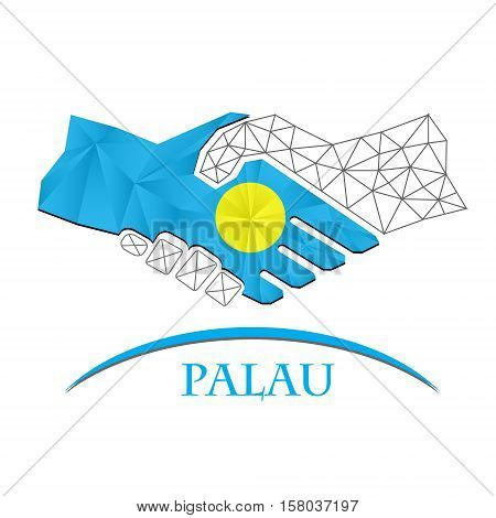 Handshake logo made from the flag of Palau. poster