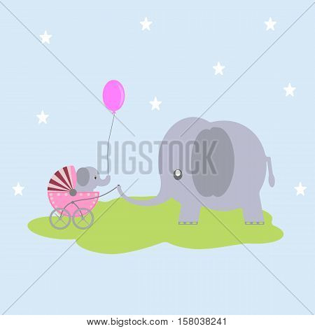 Cute cartoon greeting card, baby elephant gift to elephant mama.