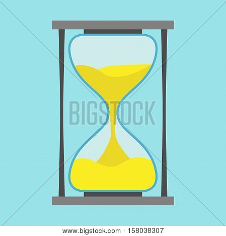 Black hourglass on blue background. Flat design. Vector illustration. EPS 8 no transparency
