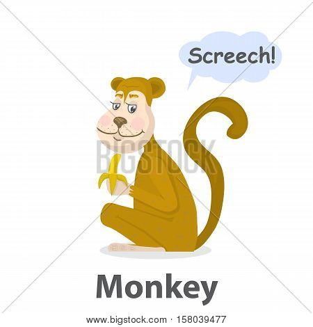 Monkey vector illustration.Cartoon cute primate with banana isolated on a white background.Cheerful Chimpanzee with speech bubble.From the series what the say animals.Zoo or jungle animal monkey