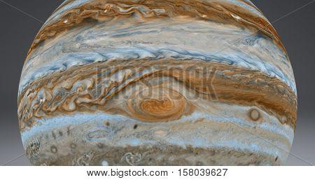 Jupiter's Red Spot is a 3d render