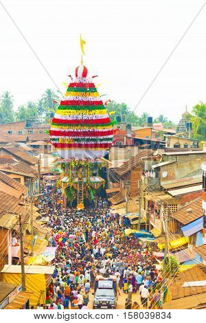 Gokarna Shivarathri Crowd People Chariot Pulling V