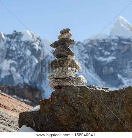 Mountain Cairn On Everest Base Camp Route In Himalayas, Nepal. Beautiful Landscape With Cairn Markin