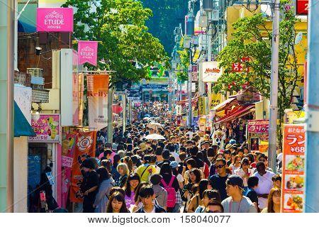 Takeshita Street Crowds Shops Many People
