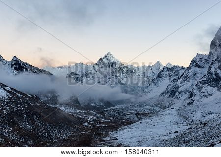 Monochrome Mountain View Of Ama Dablam Summit On The Famous Everest Base Camp Trek In Himalayas, Nep
