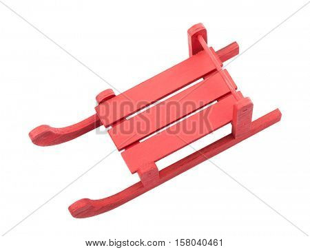 Top view of red sled, isolated on white background