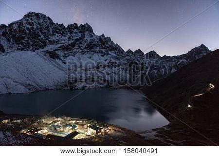 Night Himalaya Mountain Landscape. View Over Gokyo Lake And Village, Sagarmatha National Park, Nepal