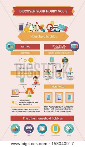 Household Hobbies - info poster, brochure cover template layout with flat design icons, other infographic elements and information text