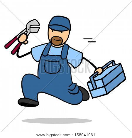 Fast cartoon plumber running as emergency service with tools