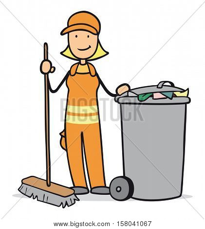 Cartoon woman working at garbage disposal with bin and broom