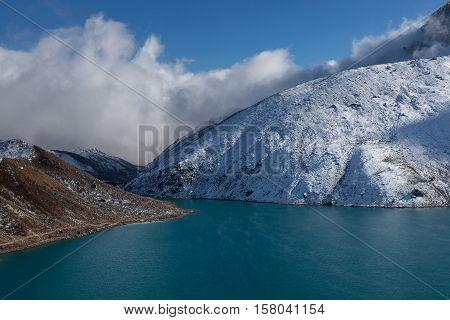 Himalaya Mountain Landscape. Hill Covered With Snow And Gokyo Lake Surface, Sagarmatha National Park