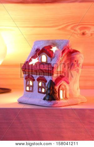 Christmas, New Year's house Santa Claus, candle holder