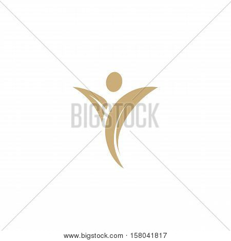 Isolated abstract man figure with plant leaves hands logo. Agricultural sign. Harvest symbol. Athletic human body logotype. Fitness nutrition icon Nature element vector illustration on white