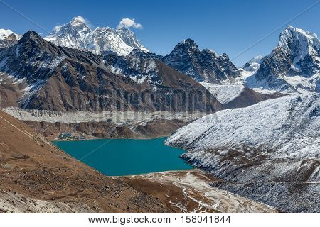 Mount Everest And Gokyo Lake Panoramic View. Himalayas Mountains Beautiful Scenery With Emerald Blue