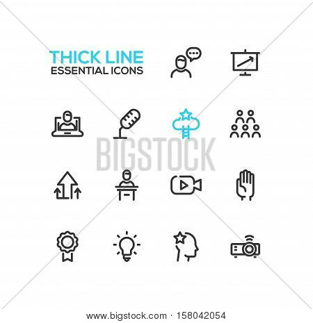 Business Training- modern vector plain simple thick line design icons and pictograms set. Speaker, chart, presentation, microphone, achievement, arrow up, tribune, video, hand, badge, bulb idea projector