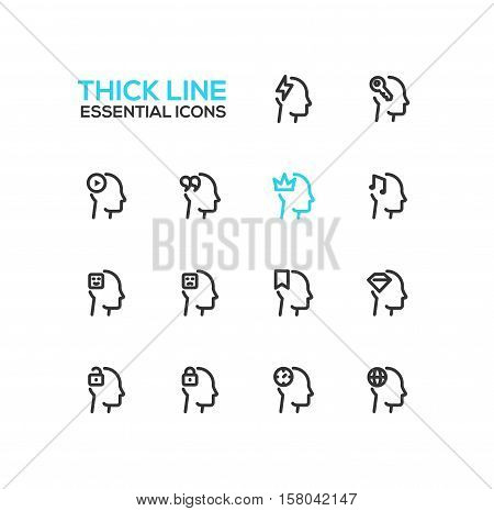 Thoughts Signs in Heads - modern vector plain simple thick line design icons and pictograms set. Head with flashlight, key, play button, quotes, crown, music, ribbon, diamond, lock, clock, globe