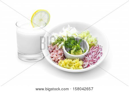 ingredients for hash on a white background with yogurt