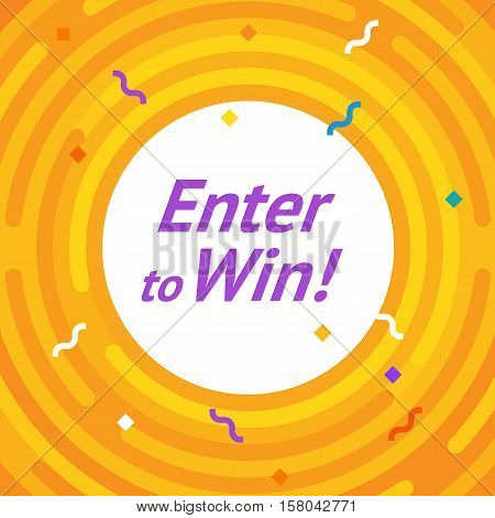 Winer sign. Congratulations win banner. Flat vector winner illustration. Victory ground with lines, rounded corners. Hipster winning card. Success design. Vector conquest illustration. The first place
