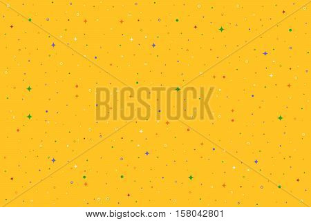 Yellow horizontal vector seamless pattern with stars, flashes, rings, dots. Abstract hipster background for web, cards, invitations. Colorful holiday backdrop
