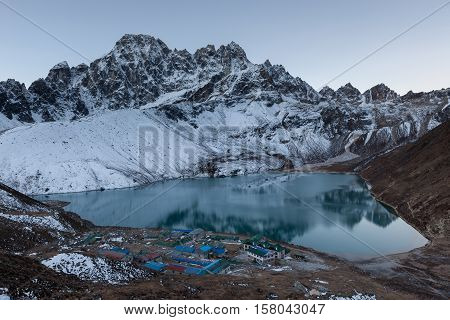 Himalaya Mountain Landscape. View Of Gokyo Village And Lake In Sagarmatha National Park, Nepal. Amaz