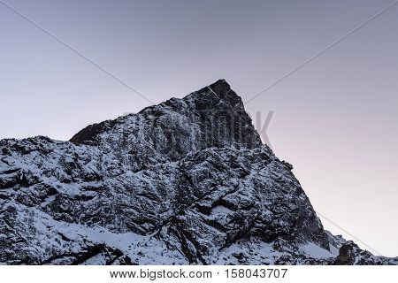 Rocky Mountain Peak Near Cho La Pass In Sagarmatha National Park, Himalayas, Nepal. Snowy Mountain S