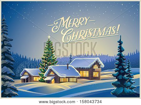 Winter festive landscape with forest, houses and Christmas tree.