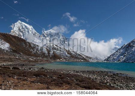 Himalaya Mountain Landscape. View Over Gokyo Lake, Sagarmatha National Park, Nepal. Beautiful Turquo
