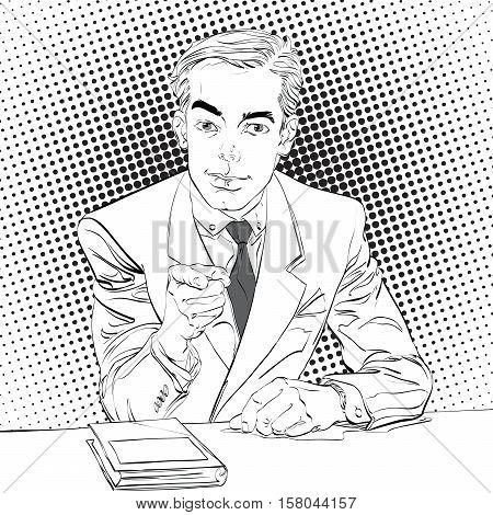 Pointing man, pop art halftone black and white background,  retro vector illustration, imitation of raster