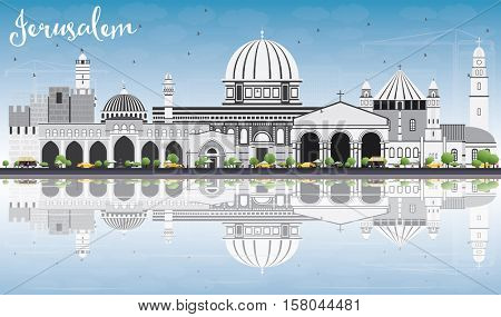 Jerusalem Skyline with Gray Buildings, Blue Sky and Reflections. Vector Illustration. Business Travel and Tourism Concept with Historic Architecture. Image for Presentation Banner Placard and Web Site
