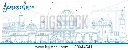Outline Jerusalem Skyline with Blue Buildings. Vector Illustration. Business Travel and Tourism Concept with Historic Architecture. Image for Presentation Banner Placard and Web Site.