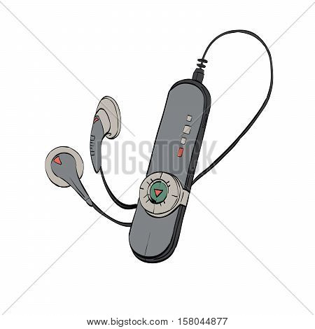 Mobile audio player, listening to music and radio. Vector illustration isolate on white background