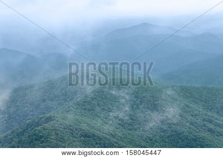 Blue ridge Shenandoah mountains covered in foggy mist