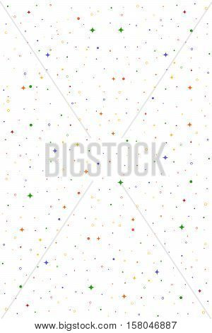 White vertical vector seamless pattern with stars, flashes, rings, dots. Abstract hipster background for web, cards, invitations. Colorful holiday backdrop