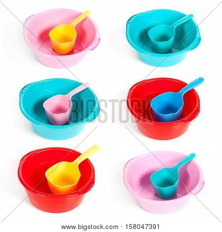 Several Plastic Basins With Ladles