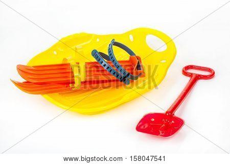 Plastic Ice-boat, Shovel And Skis
