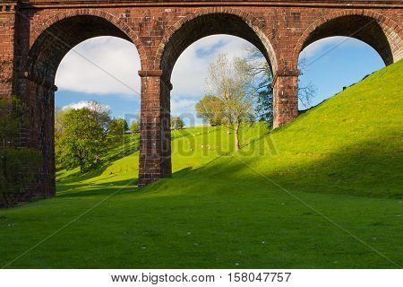 Lune viaduct - the typical viaduct in Yorkshire Dales National Park Great Britain