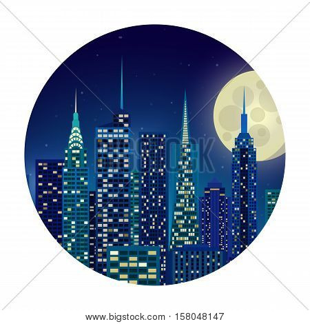 Vector illustration of night city New York moonlight starry sky glow. appartment house banner background. Silhouette of city lights in the windows. Building skyscrapers metropolis.