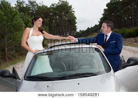 In Love Wedding Couple Posing Near Splendid Cabriolet Car