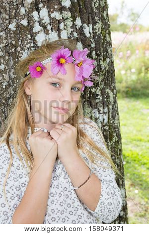 Girl With Circlet Of Flower On Head Portrait In Autumn