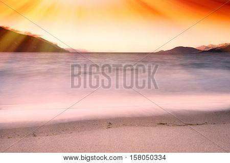 Tidal waves with light leak landscape background hd