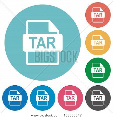 TAR file format white flat icons on color rounded square backgrounds