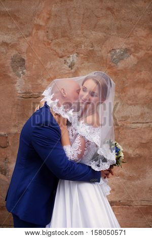 The groom kisses the bride wearing a veil on a walk in the countryside