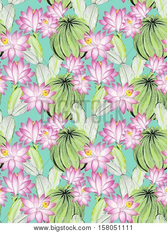 seamless watercolor cactus pattern. beautiful botanical illustrations ob blooming cactus opuntia. pink flowers.