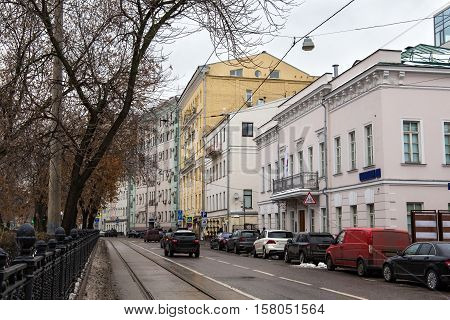 Roadway of Chistoprudny Boulevard in Moscow with old historical buildings. Chistoprudny Boulevard (Clear Ponds) is a major boulevard in the central part of Moscow.