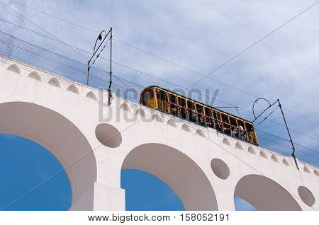 Iconic Tram of Santa Teresa is Crossing the Arch of Lapa in Rio de Janeiro, Brazil